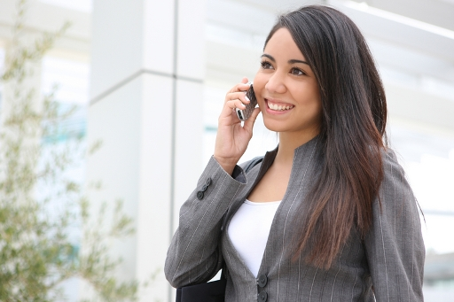 Girl on phone from Noble Finance in Texas
